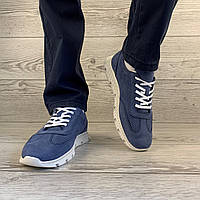 Мужские классические кроссовки из нубука светло-синие с белой подошвой демисезонная фирменная обувь