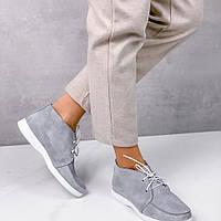 Женские туфли,лоферы на шнурках,натуральная кожа серые