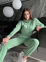 Однотонный женский спортивный костюм с укороченной кофтой из двунити (Норма), фото 2