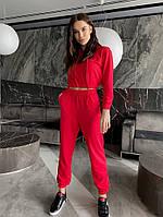 Однотонный женский спортивный костюм с укороченной кофтой из двунити (Норма), фото 3