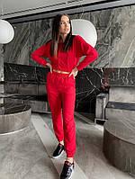 Однотонный женский спортивный костюм с укороченной кофтой из двунити (Норма), фото 4
