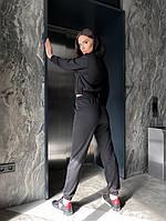 Однотонный женский спортивный костюм с укороченной кофтой из двунити (Норма), фото 7