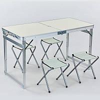 Набор для пикника туристический (раскладной стол+4 раскладных стула) (р-р стола 60х120см, металл, ламин.ДСП)