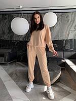 Однотонный женский спортивный костюм с укороченной кофтой из двунити (Норма), фото 5