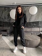 Однотонный женский спортивный костюм с укороченной кофтой из двунити (Норма), фото 6