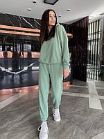 Однотонный женский спортивный костюм с укороченной кофтой из двунити (Норма), фото 8