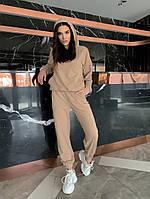 Однотонный женский спортивный костюм с укороченной кофтой из двунити (Норма), фото 10