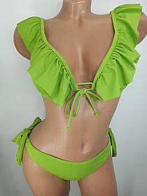 Купальник с оборками, низкие бесшовные плавки Sisianna 5945 зеленый на 42 44 46 48 50 размер