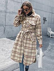 Пальто-рубашка женское с поясом Beige Berni Fashion (S)