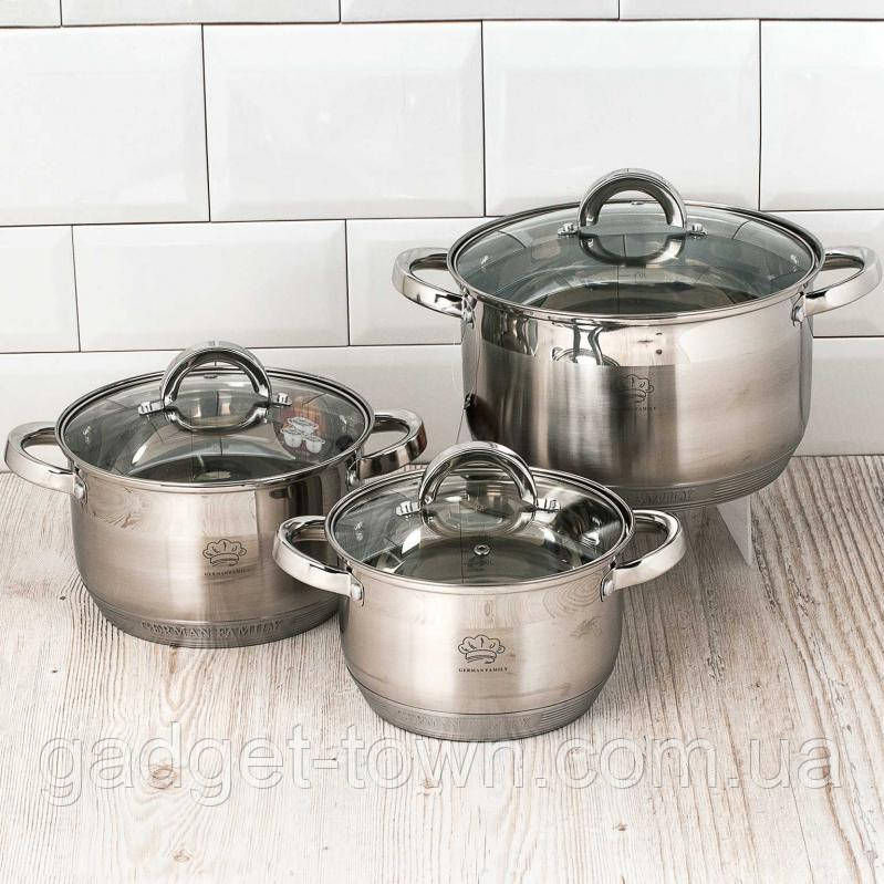 Набір каструль для кухні German Family GF-2053 (6 предметів)