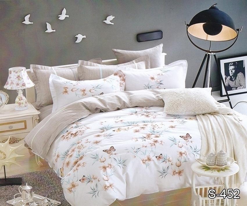 Двуспальный комплект постельного белья белого цвета с бабочками, Сатин-люкс