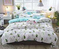 Евро комплект постельного белья с кактусами, Сатин-люкс