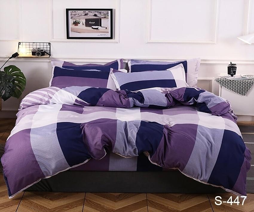 Двоспальний комплект постільної білизни фіолетового кольору в клітинку, Сатин-люкс
