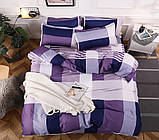 Двоспальний комплект постільної білизни фіолетового кольору в клітинку, Сатин-люкс, фото 2