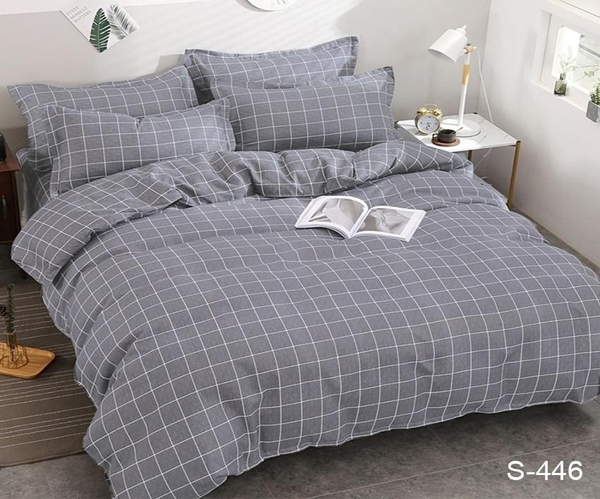 Евро комплект постельного белья серого цвета в клеточку, Сатин-люкс