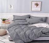 Евро комплект постельного белья серого цвета в клеточку, Сатин-люкс, фото 2