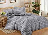 Евро комплект постельного белья серого цвета в клеточку, Сатин-люкс, фото 3