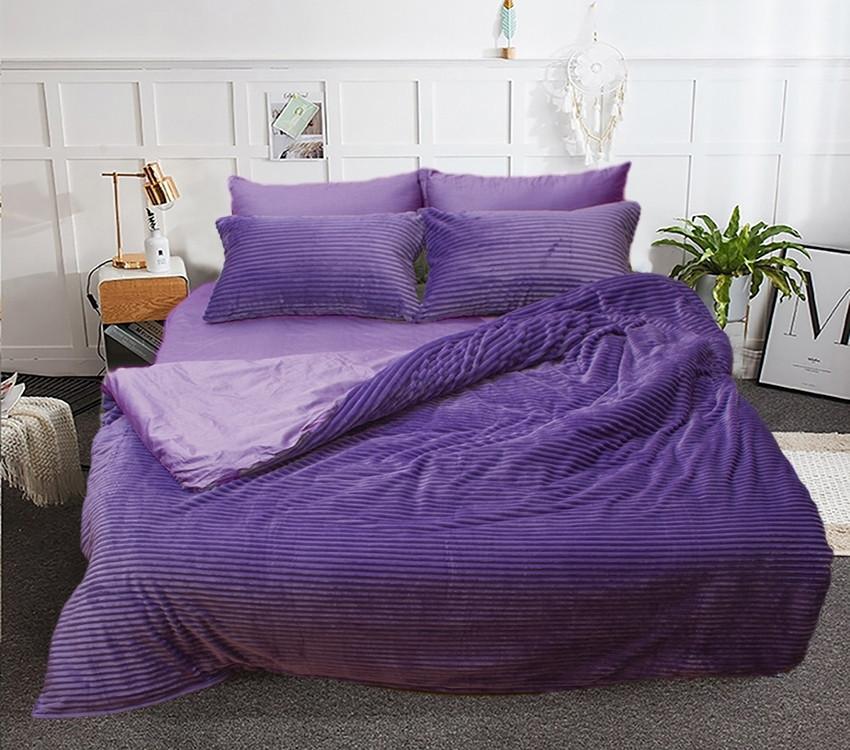 Двоспальний комплект постільної білизни фіолетово-бузкового кольору, Сатин