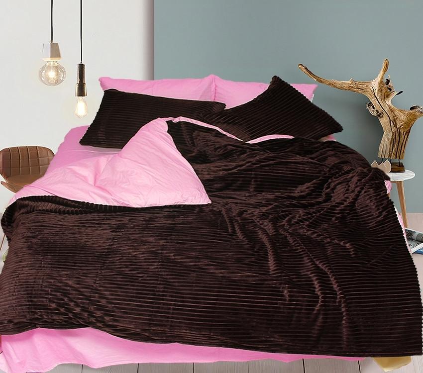 Двуспальный комплект постельного белья коричнево-розового цвета, Сатин