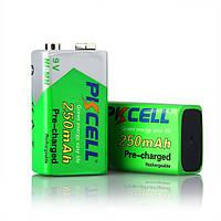 Аккумулятор PKCELL 9V/250mAh, крона, NiMH Rechargeable Battery, 1 штука в блистере цена за блистер Q10
