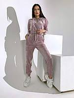 Трендовый женский велюровый костюм с укороченной кофтой и капюшоном (Норма), фото 2