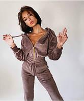 Трендовый женский велюровый костюм с укороченной кофтой и капюшоном (Норма), фото 3