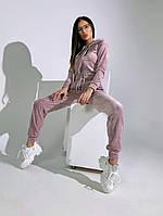 Трендовый женский велюровый костюм с укороченной кофтой и капюшоном (Норма), фото 4