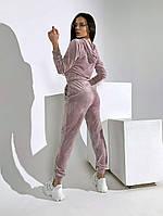 Трендовый женский велюровый костюм с укороченной кофтой и капюшоном (Норма), фото 5