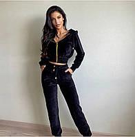 Трендовый женский велюровый костюм с укороченной кофтой и капюшоном (Норма), фото 6