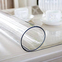 Защита на стол, 110*70 см мягкое (жидкое, гибкое) стекло, глянцевая скатерть силиконовая, толщина 2 мм