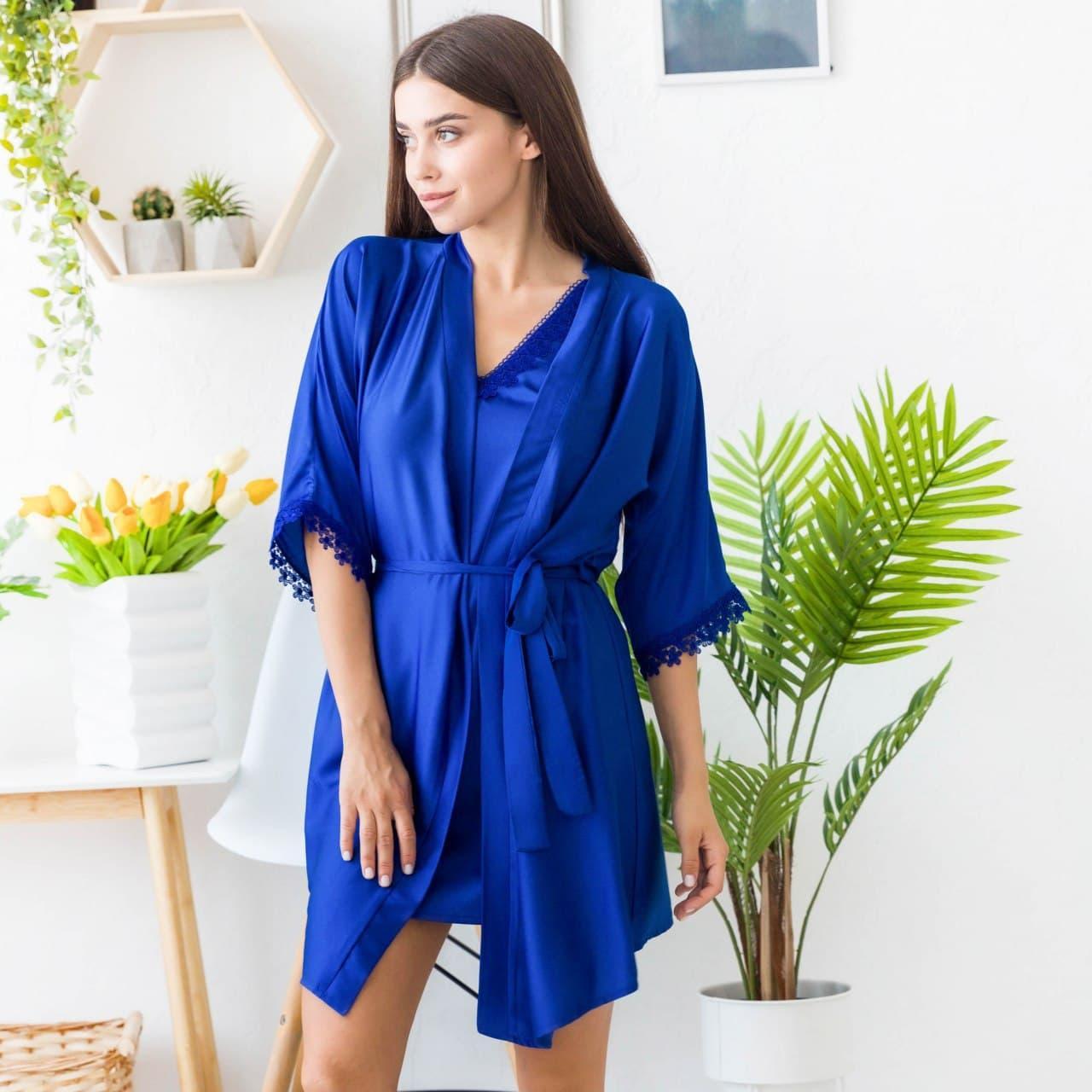 Комплект жіночий нічна сорочка і халат з шовку Армані