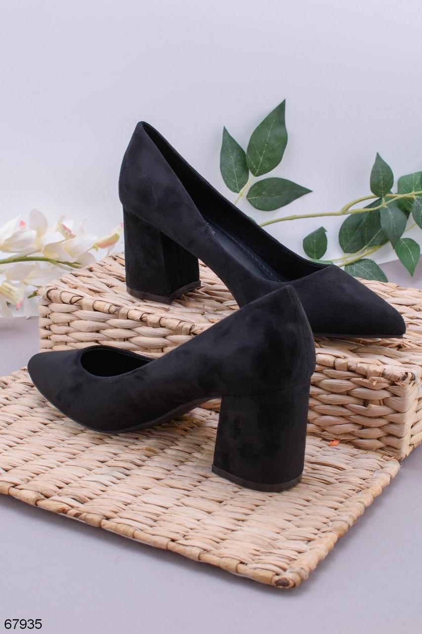 Женские туфли черные на каблуке 7,5 см эко- замш