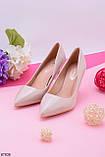 Женские туфли лодочки бежевые - молочные на каблуке 8 см эко- лак, фото 2
