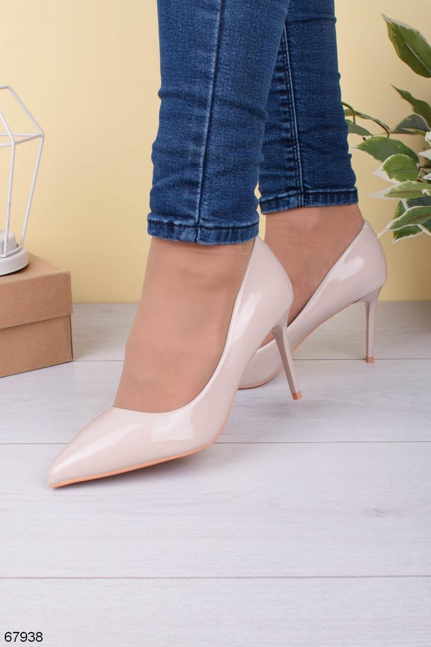 Женские туфли лодочки бежевые - молочные на каблуке 8 см эко- лак