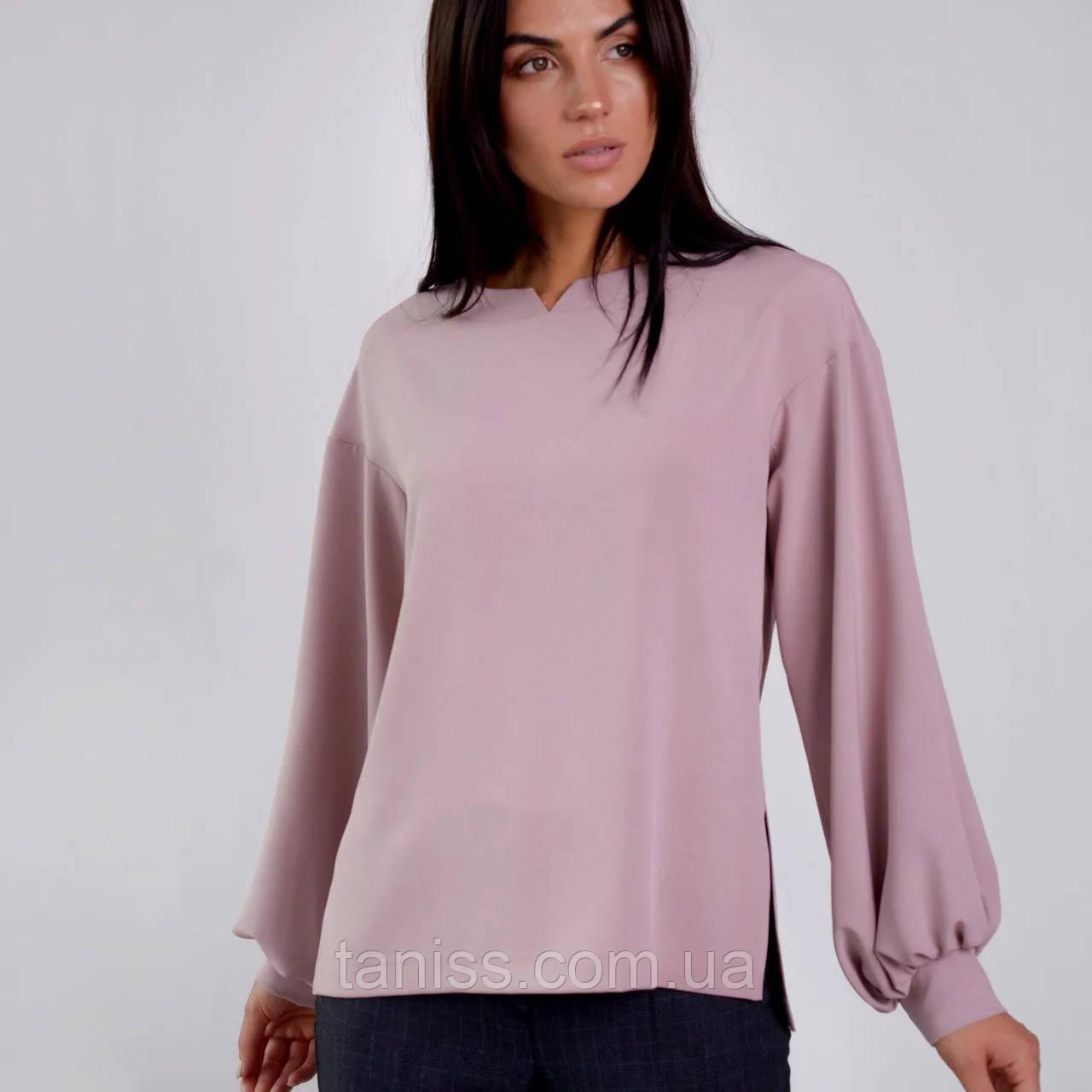 """Стильна жіночі блуза """"Дана"""", тканина креп льон, розміри 44, 46, 48, 50, 52, 54. , троянда"""