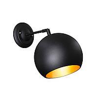 Бра в стиле лофт Msk Electric  Шар  NL 1815-1 BK+GD ширина 180mm светильник настенный шарик, фото 1
