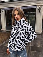 Куртка женская короткая чёрная белая с принтом бренд весенняя осенняя на молнии