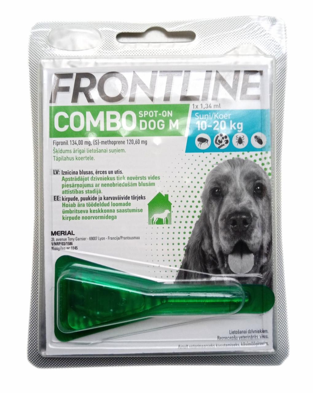 Краплі від бліх та кліщів для собак 10-20 кг Фронтлайн Комбо Merial 1 піпетка