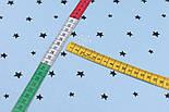 Лоскут сатина с чёрными звёздами на голубом фоне, №3281с, размер 46*80 см, фото 5