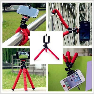 Универсальный гибкий штатив (трипод) для телефона и фотоаппарата красный