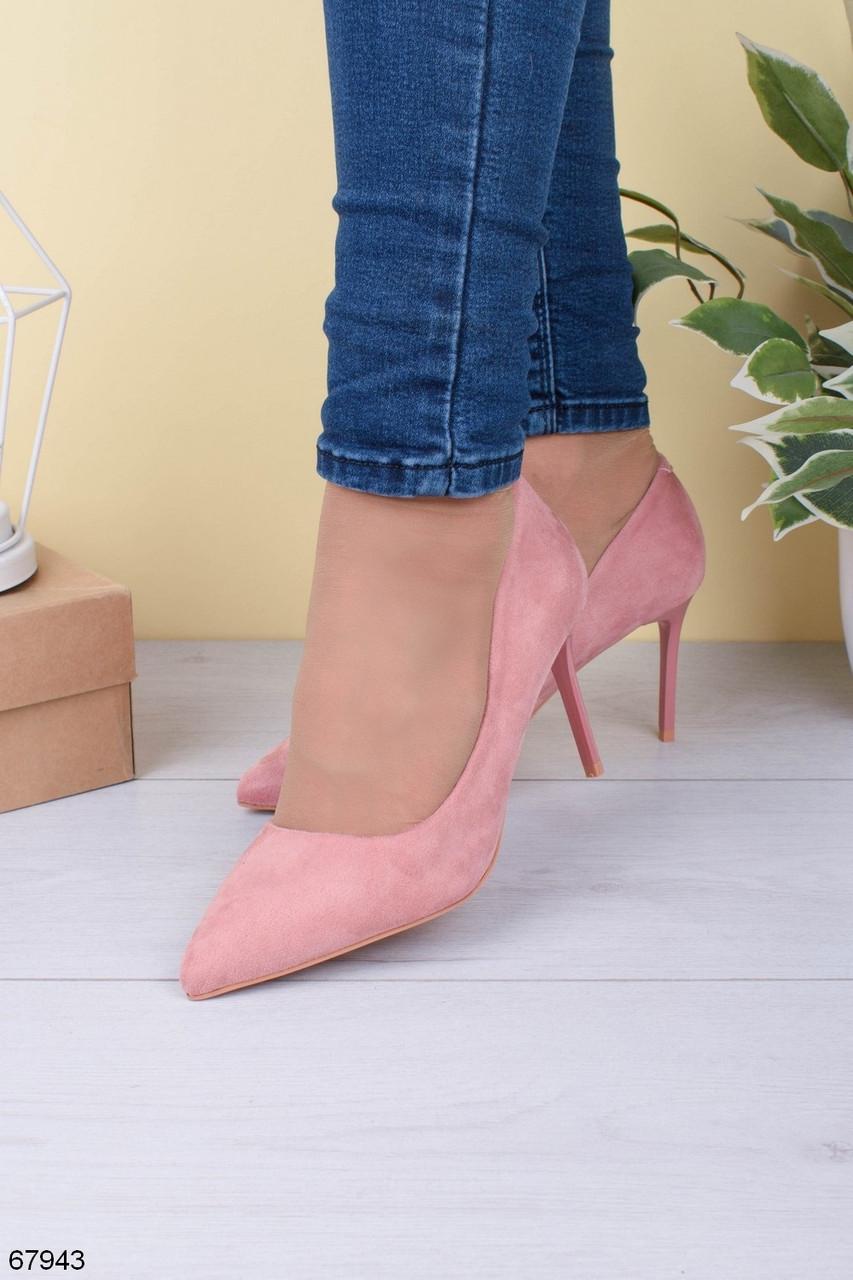 Туфли женские розовые - пудра эко-замш на каблуке 8 см