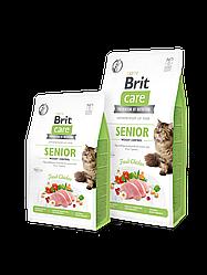 Сухой корм Brit Care Cat GF Senior and Weight Control для пожилых кошек с избыточным весом (курица)