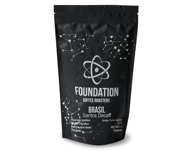 Кава без кофеїну Foundation Coffee Roasters Brasil Santos Decaff в зернах 1 кг