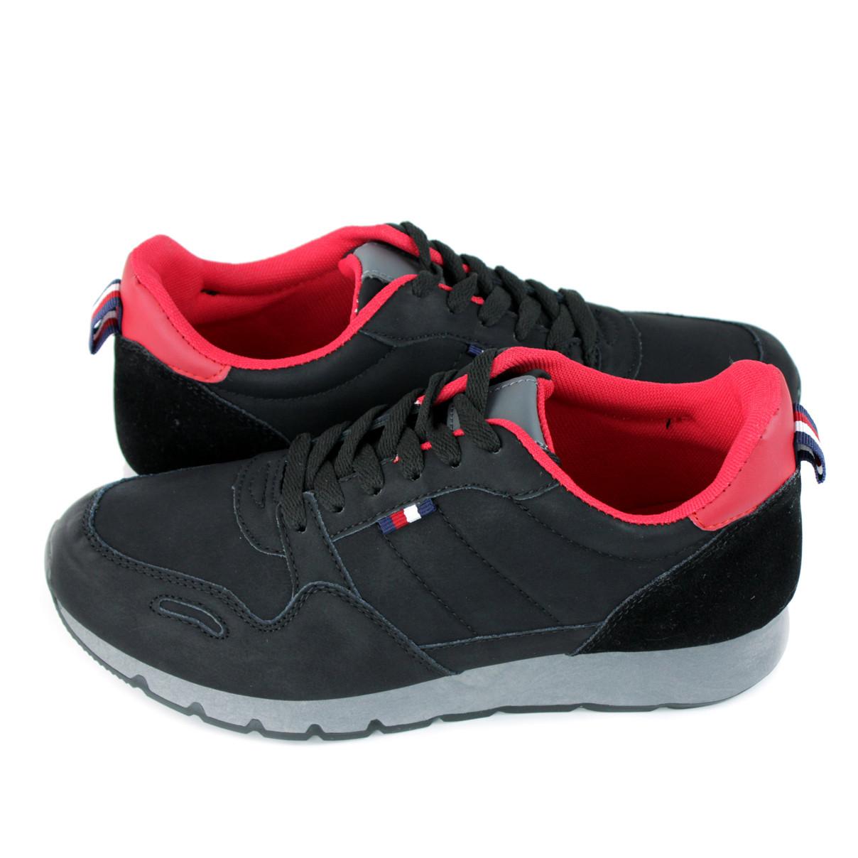 Кроссовки мужские черные с красными стельками LaVento