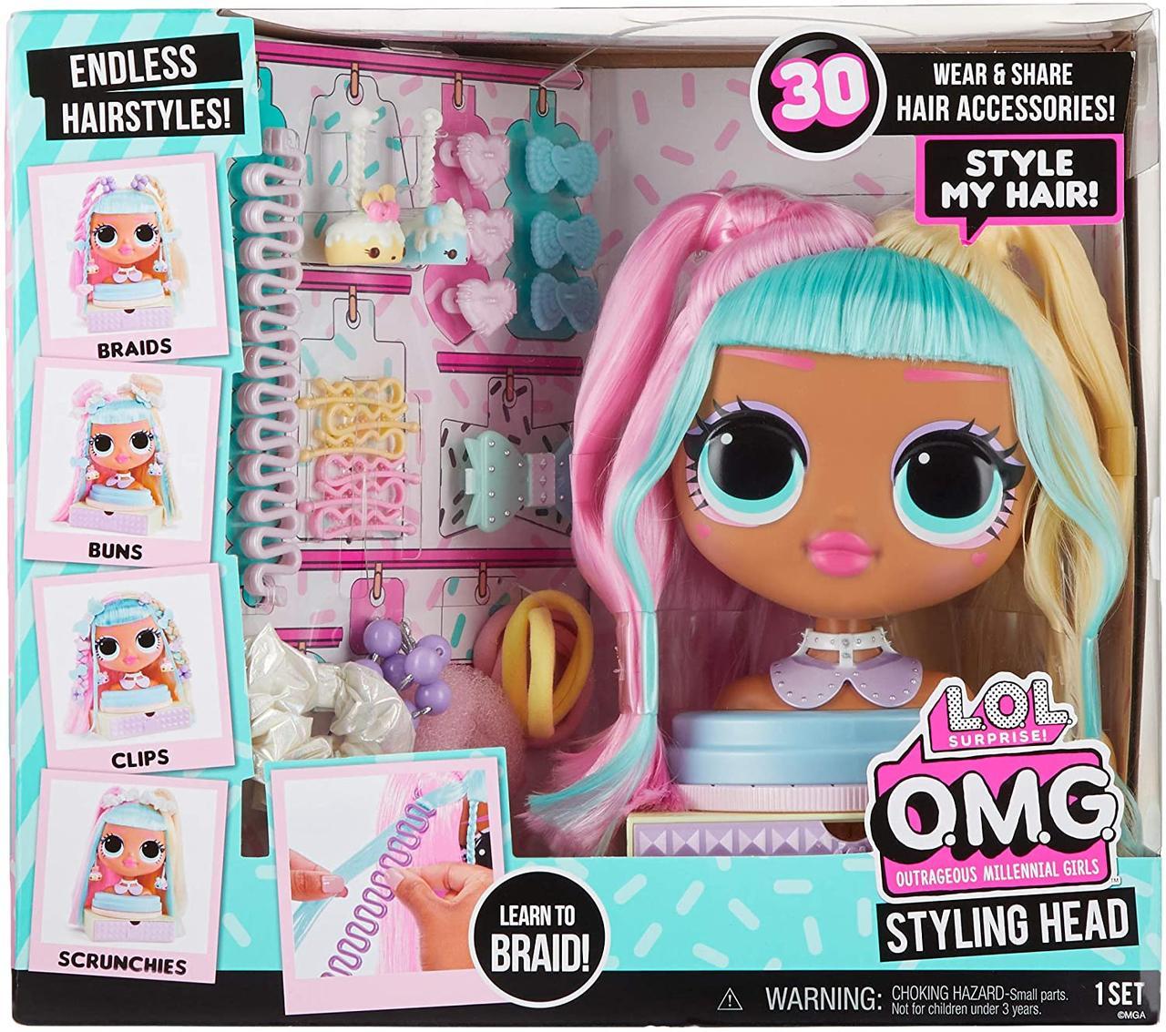 Лялька ЛОЛ ОМГ Голова манекен для зачісок LOL Surprise OMG Styling Head Candylicious 572008