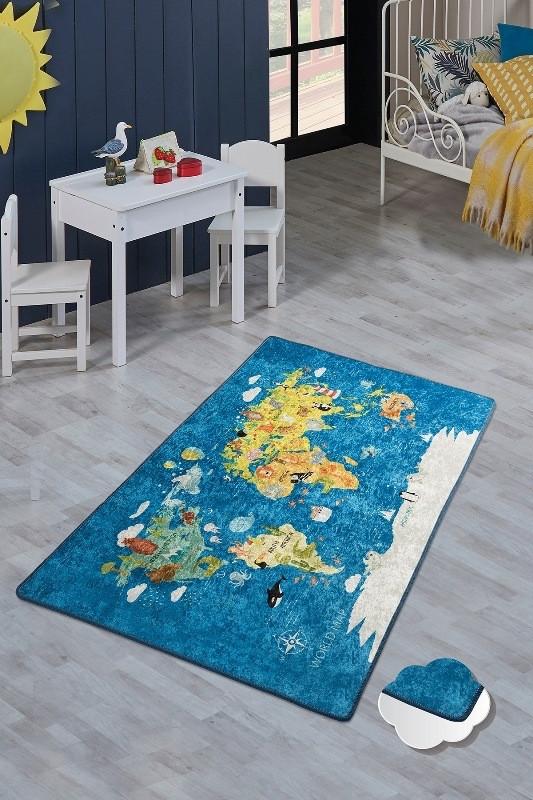"""Безкоштовна доставка! Килим в дитячу """"Карта світу""""140х190см."""