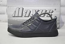 Чоловічі туфлі кежуал натуральна шкіра темно сині Maxus