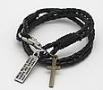 Модный кожаный браслет с крестиком для подростка, фото 5