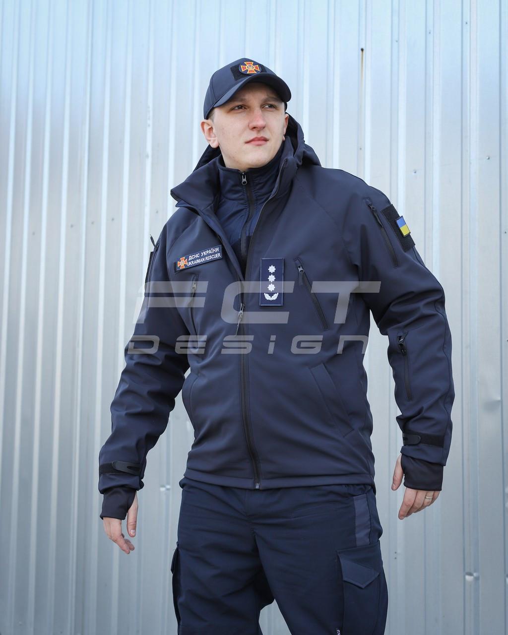 Куртка тактическая Хантер Софтшелл синяя на сетке