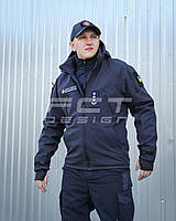 Куртка тактическая Хантер Софтшелл синяя на сетке, фото 1